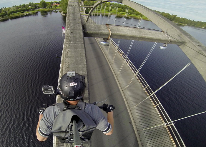 See This Professional Stuntman Crossing A Bridge In An Epic Way