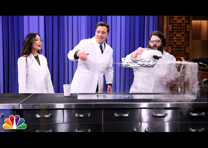 Jimmy Fallon And Lucy Liu Perform Science Experiments With Kevin Delaney
