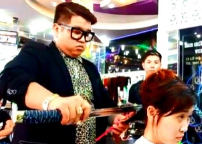 See This Barber Cutting Hair With A Samurai Sword