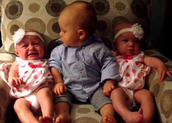 See How This Cute Baby Is Confused After Meeting Twins