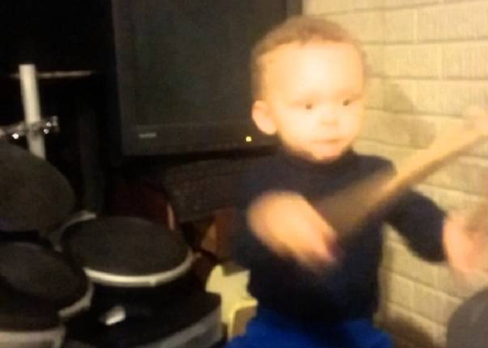 """Look At This 2-Year-Old Kid Playing Drums To """"The Pretender"""" By Foo Fighters"""