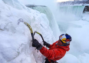 Look At This Guy Ice Climbing The Frozen Sections Of Niagara Falls