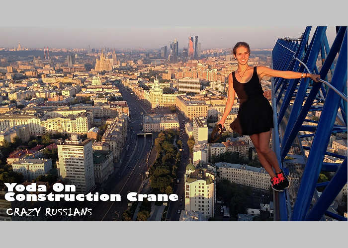 See How Crazy Russians Climb A Construction Crane In Moscow