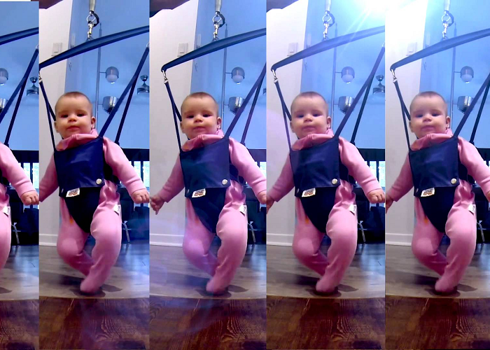 Look At This Cute Little Baby Dancing In The Jolly Jumper